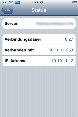 VPN Details IPod Touch