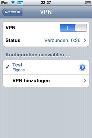 Etablierte VPN-Verbindung IPod Touch